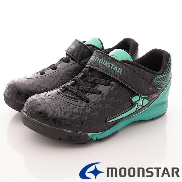 日本月星競速童鞋-足球運動款-SSK7396黑綠(16cm-19cm)