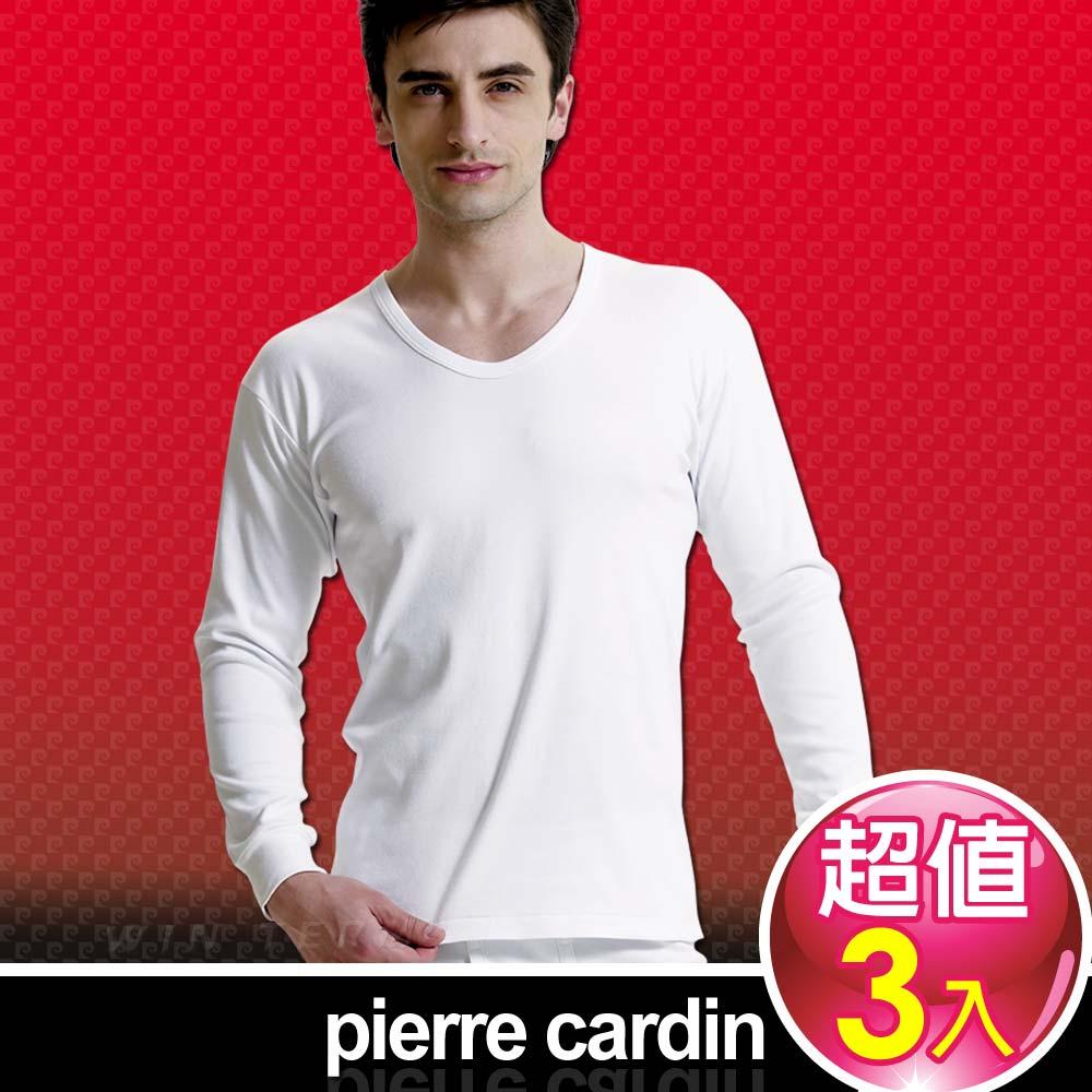 Pierre Cardin 皮爾卡登 排汗厚暖棉U領長袖衫-台灣製造(3入組)