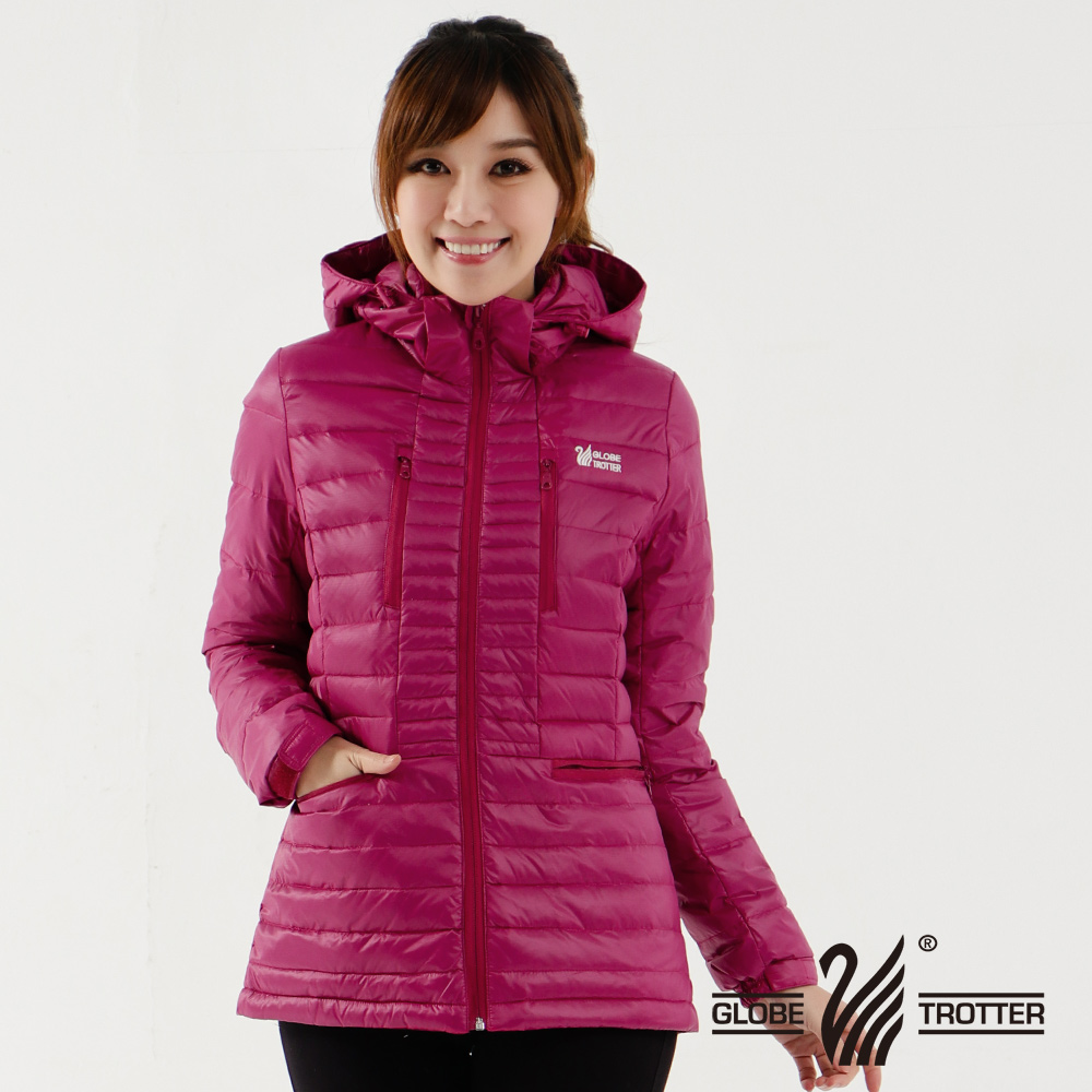 【遊遍天下】女款顯瘦JIS90%羽絨防風防潑水極暖羽絨外套G0353深紅