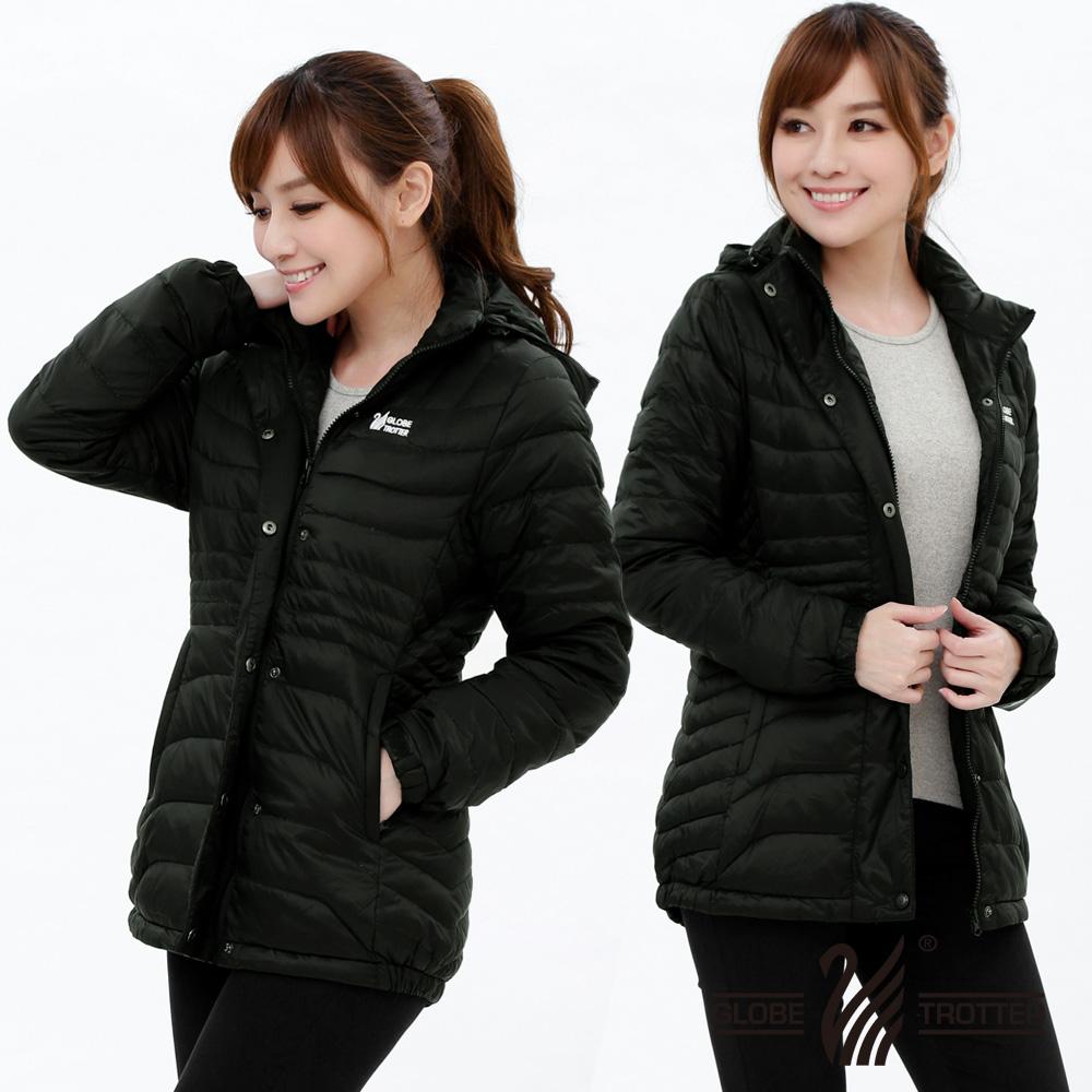 【遊遍天下】女款顯瘦JIS90%羽絨防風防潑水極暖羽絨外套G0355黑色