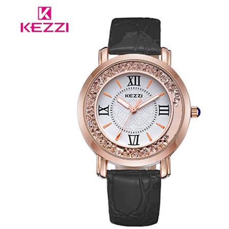 【17mall】珂紫KEZZI羅馬復古創意流沙水鑽皮帶石英手錶-黑