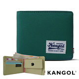 KANGOL 韓式潮流 多夾層/零錢袋橫式短皮夾+鑰匙圈禮盒-帆布撞色綠 KG1162