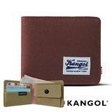 KANGOL 韓式潮流 多夾層/零錢袋橫式短皮夾+鑰匙圈禮盒-帆布撞色棕 KG1162