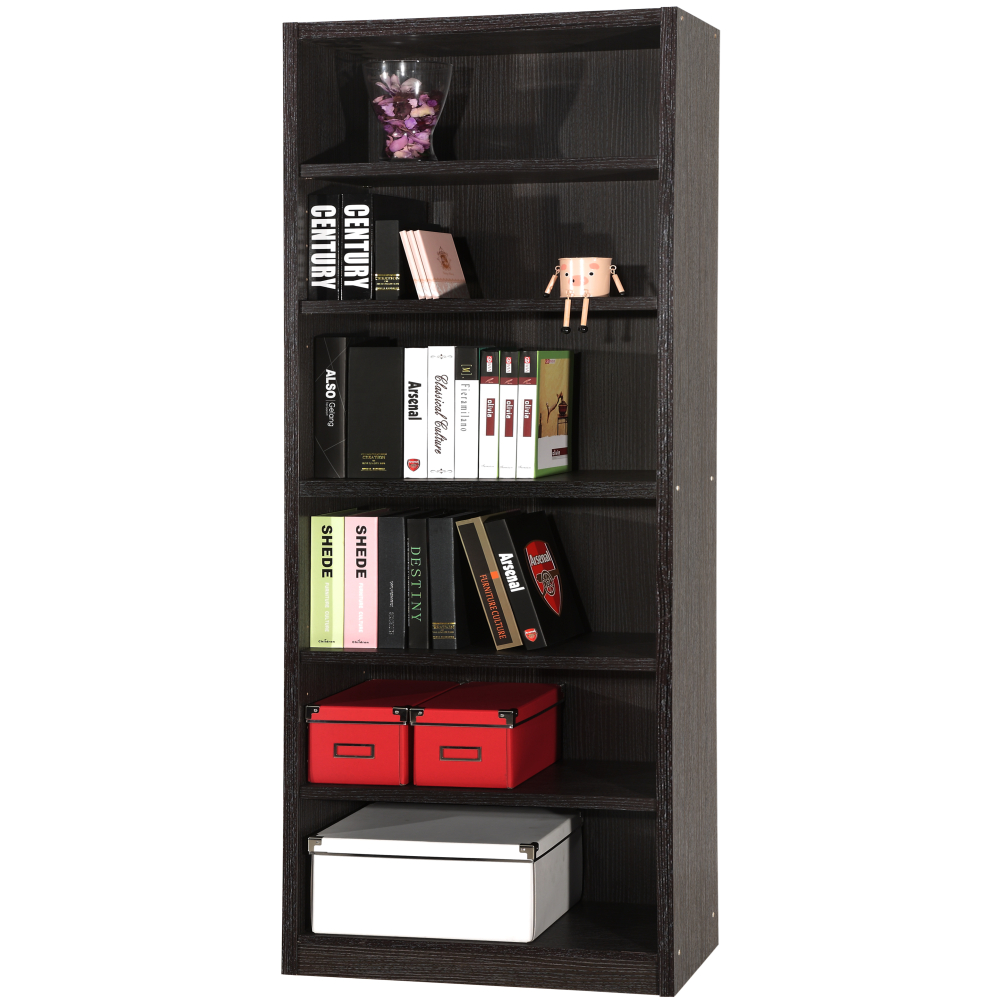 【EASY HOME】六格加寬加厚厚板胡桃書櫃\收納櫃