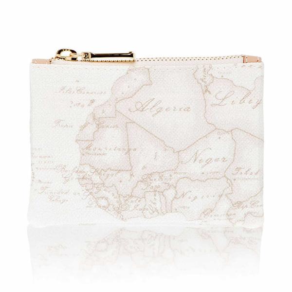 Alviero Martini 義大利地圖包 鑰匙環拉鍊小錢包-地圖白