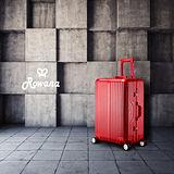Rowana 閃耀律動立體拉絲輕量鋁框行李箱 20吋(甜酒紅)