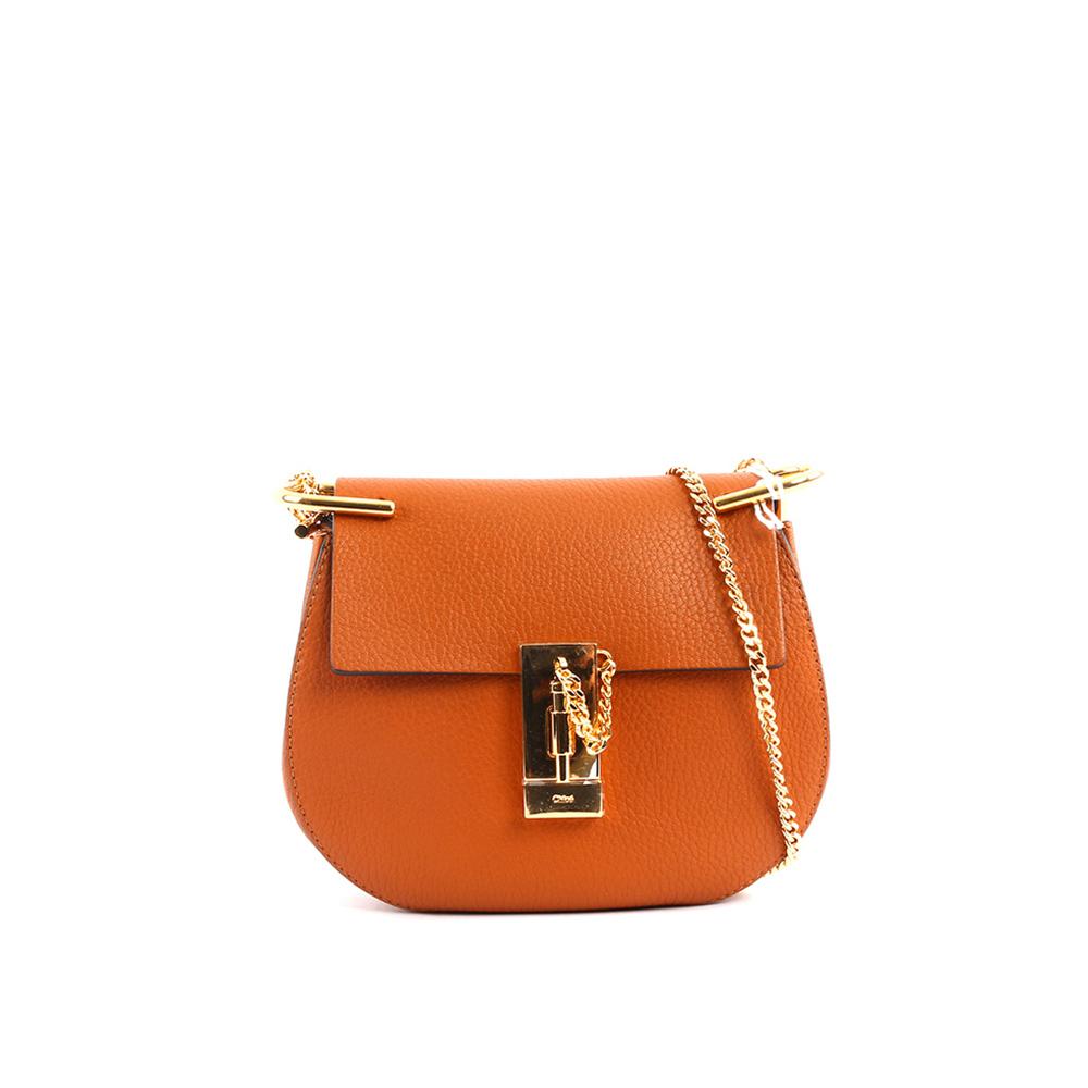 【CHLOE】山羊皮金鍊 Mini drew bag (焦糖色)