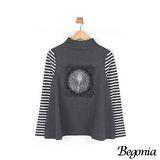 【Begonia】小立領燒花網紗條紋傘狀上衣(共二色)