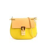 【CHLOE】山羊皮金鏈mini drew bag (檸檬黃拚色)