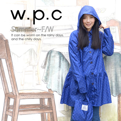 【w.p.c】微甜裙襬款。時尚雨衣/風衣(R1006)_寶石藍