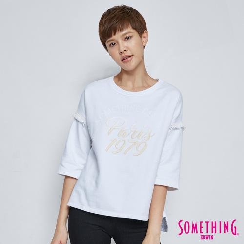 SOMETHING 微秋寬袖流蘇T恤-女-白色