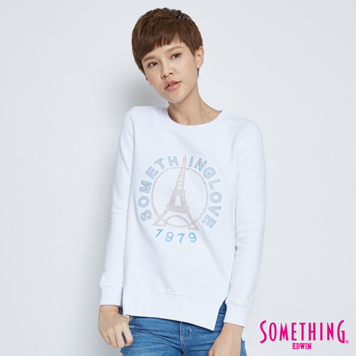 SOMETHING 下擺開叉巴黎鐵塔長袖T恤-女-白色