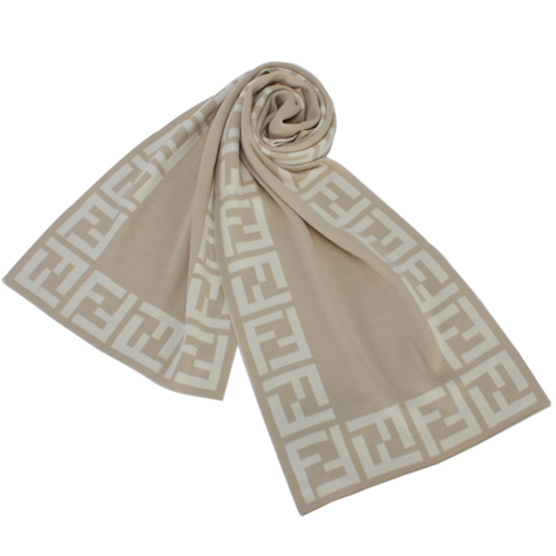 FENDI 經典滿版雙F LOGO織紋羊毛圍巾-淺駝色