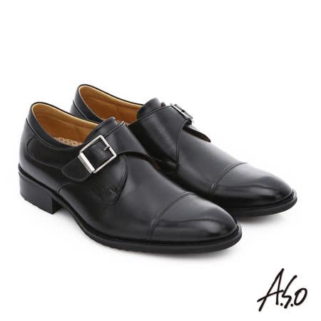 A.S.O阿瘦 小牛皮魔鬼氈奈紳士鞋(黑)
