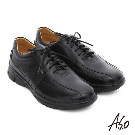 A.S.O阿瘦  真皮綁帶奈米氣墊皮鞋(黑)