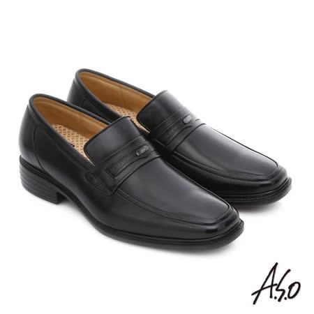 A.S.O阿瘦 純羊皮直套式氣墊皮鞋(黑)