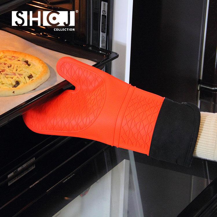 【SHCJ生活采家】加長型雙層防燙矽膠隔熱手套#53002