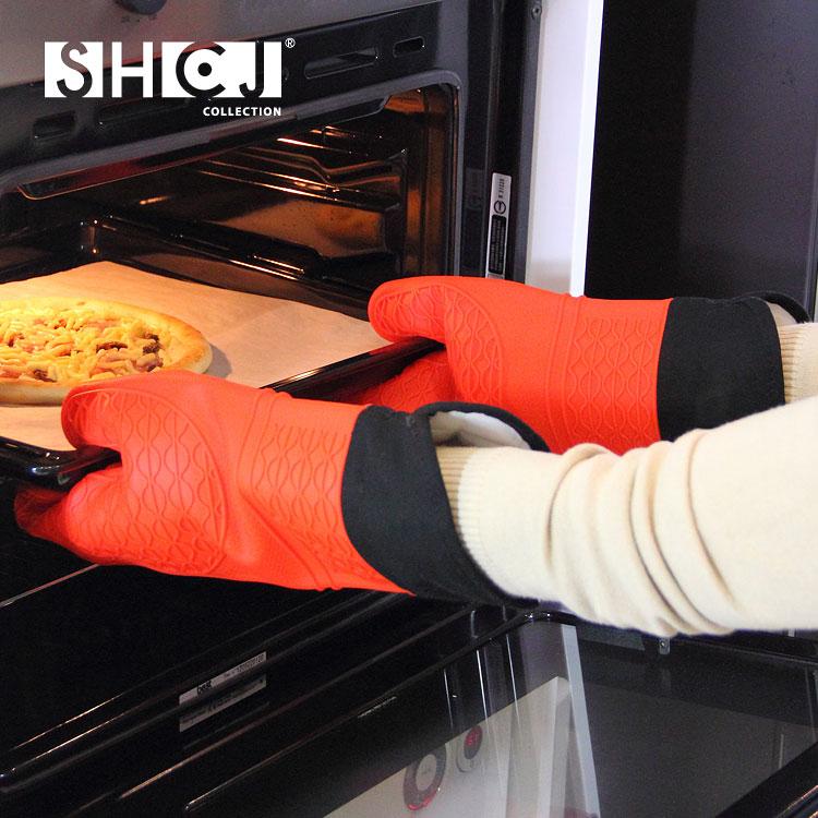 【SHCJ生活采家】加長型雙層防燙矽膠隔熱手套(2入組)#99410