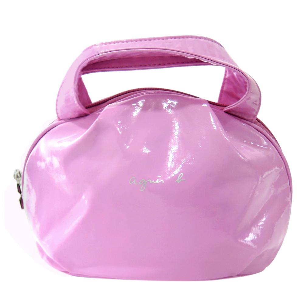 agnes b 亮面軟皮小手提包(粉紫)