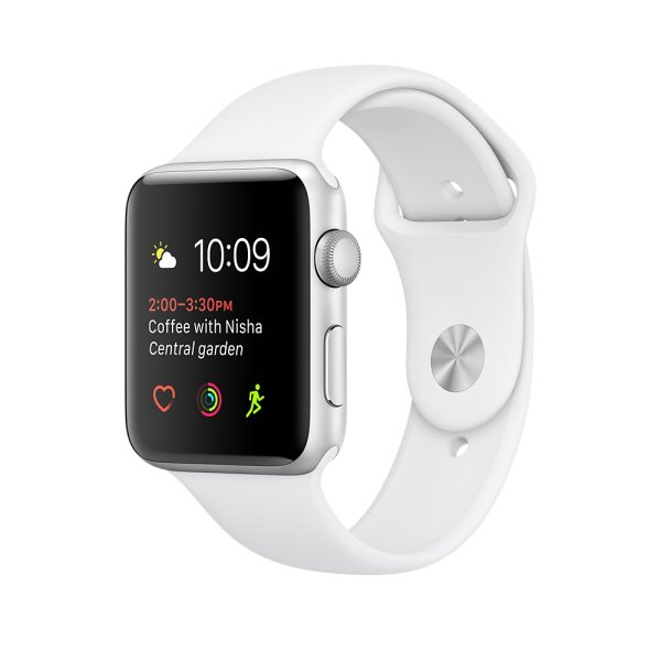 Apple Watch Series 2 智慧型手錶 (42mm) /A 42公釐銀色鋁金屬錶殼搭配白色運動型錶帶 智慧型手錶