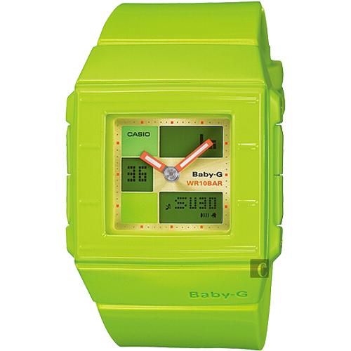 CASIO 卡西歐 Baby-G 行李箱時尚雙顯錶-綠 BGA-200-3E
