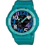 CASIO 卡西歐 Baby-G 霓虹照明造型錶-湖水綠 BGA-131-3BDR