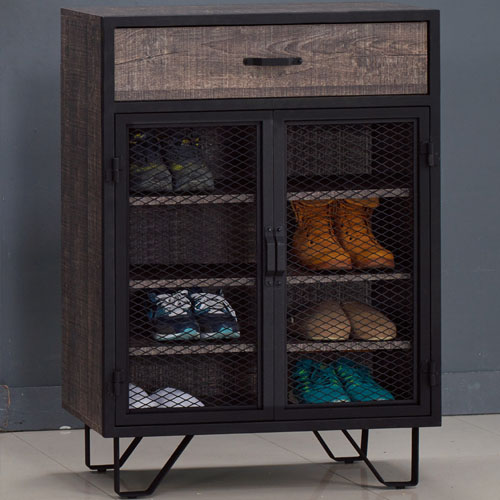 AT HOME-馬汀2.7尺工業鐵網鞋櫃