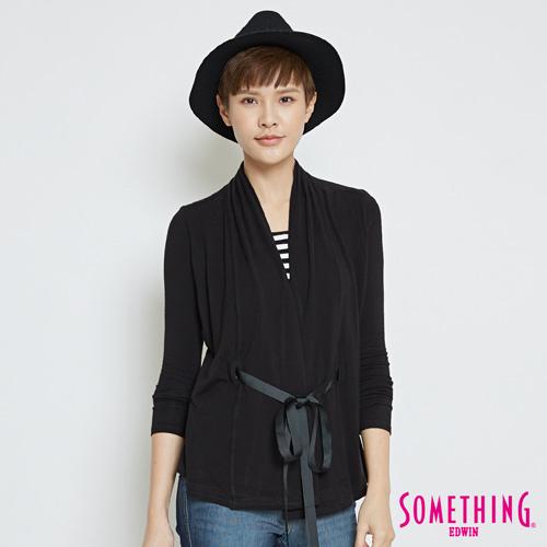 SOMETHING 假兩件式腰部抽繩上衣-女-黑色