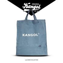 【KANGOL】品牌經典手提側背兩用牛仔輕便帆布袋/購物袋/學生包/情侶包(天空藍 KG1150-02)