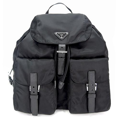 PRADA Zainetto Vela 三角標尼龍雙口袋後背包(大/黑)