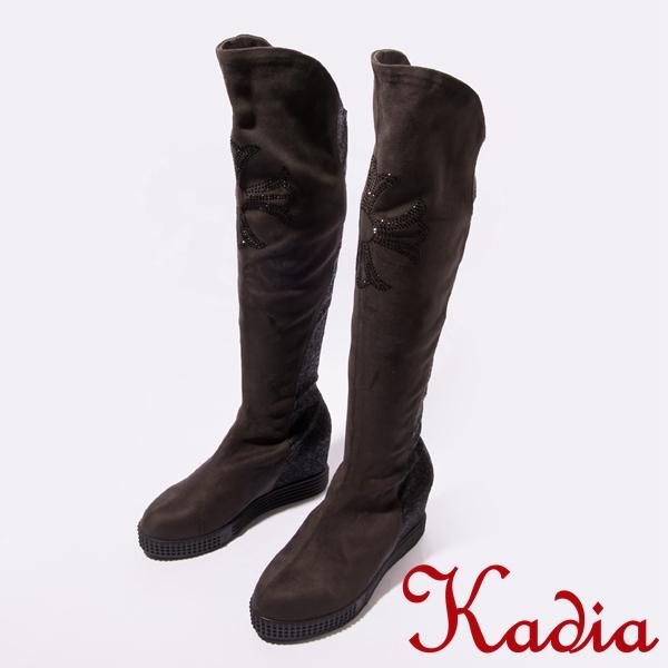 kadia.柔軟拼接絨布閃亮鑽飾點綴長靴(咖啡色)