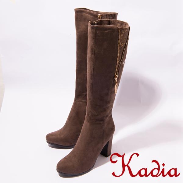 kadia.柔軟絨布拉鍊鑽飾點綴長靴(咖啡色)