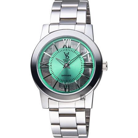 【VOGUE】曼波系列鏤空藝術腕錶-綠x銀/38mm(9V1601-141S-G)