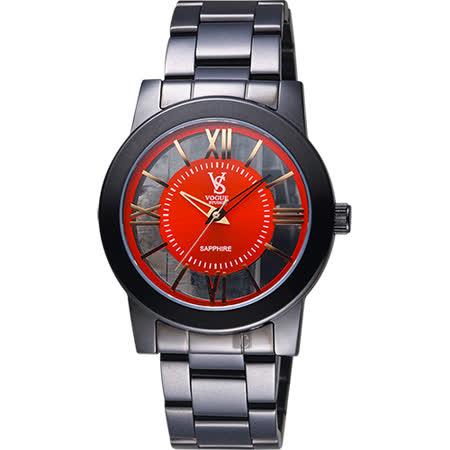 VOGUE 曼波系列鏤空藝術腕錶-紅x黑/38mm  9V1601-141D-R