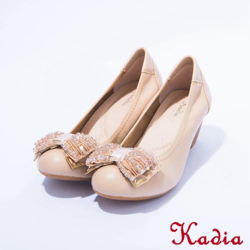 kadia.氣質款 真皮閃耀珠珠包鞋(棕色)