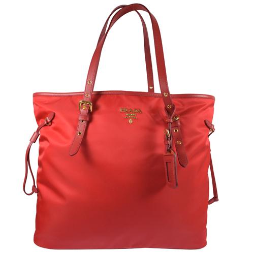 PRADA 新版經典浮雕LOGO尼龍帆布束口大購物包.紅