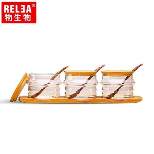 香港RELEA物生物 耐熱玻璃調味罐3件套裝組 含竹蓋、木杓、竹木底盤