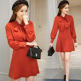 【Kate Classic 】紅色氣質收腰連身裙長袖洋裝DS191