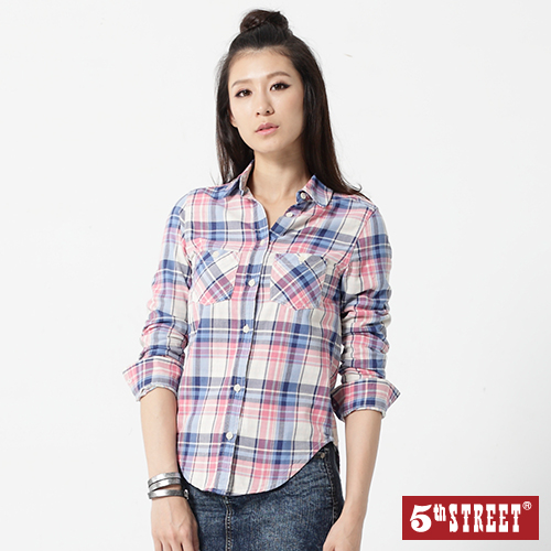 5th STREET 基本格紋長袖襯衫-女-土耳其藍