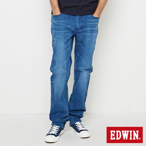 EDWIN 迦績褲JERSEYS棉感直筒牛仔褲-男-漂淺藍