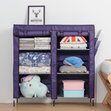 超大雙排加寬12格簡易防塵組合式鞋櫃 -friDay購物