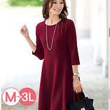 日本Portcros 現貨-優雅折縫七分袖連身洋裝(酒紅色/M-L)