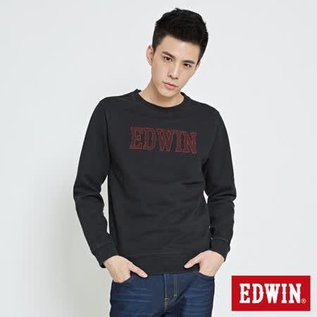 EDWIN 基本繡花EDWIN字樣內刷毛長袖T-男-紅色