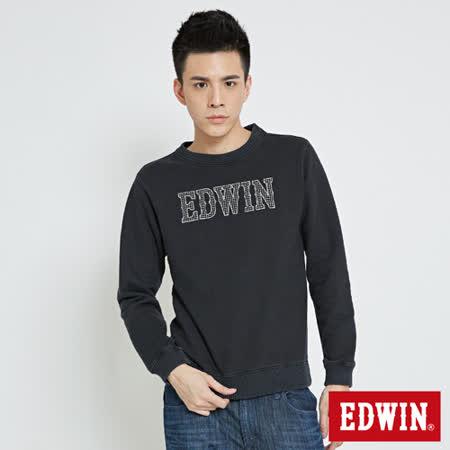 EDWIN 基本繡花EDWIN字樣內刷毛長袖T-男-銀灰