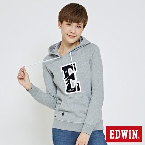 EDWIN E字繡圖閃電長袖帽T-女-麻灰色