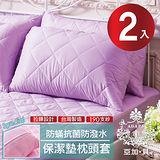 【AGAPE亞加‧貝】 MIT台灣精製《紫羅蘭》 防潑水專利防蹣抗菌枕頭套式保潔墊 -2入