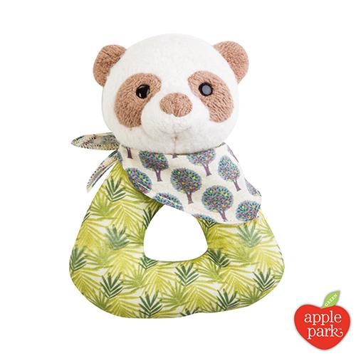 美國 Apple Park - 野餐好朋友系列 有機棉手搖鈴啃咬玩具禮盒 - 綠葉貓熊