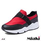 【Miaki】慢跑鞋韓經典素面拼接厚底包鞋 (紅色 / 黑色)
