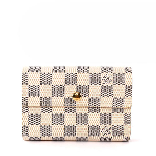 【LV】棋盤格 三折 13卡 中夾(白色)