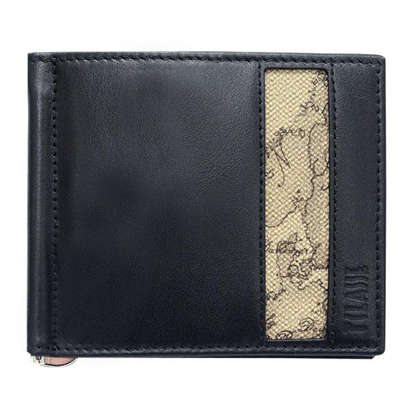 Alviero Martini 義大利地圖包 旅行系列 男用8卡短夾-地圖灰/黑